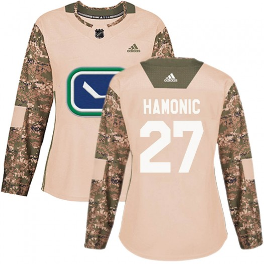Travis Hamonic Vancouver Canucks Women's Adidas Authentic Camo Veterans Day Practice Jersey