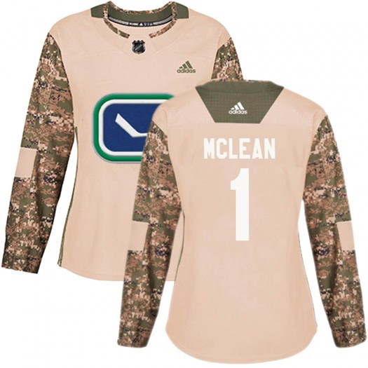 Kirk Mclean Vancouver Canucks Women's Adidas Authentic Camo Veterans Day Practice Jersey