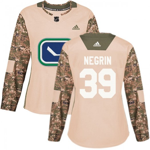 John Negrin Vancouver Canucks Women's Adidas Authentic Camo Veterans Day Practice Jersey