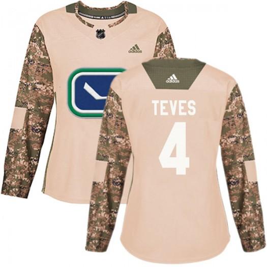 Josh Teves Vancouver Canucks Women's Adidas Authentic Camo Veterans Day Practice Jersey