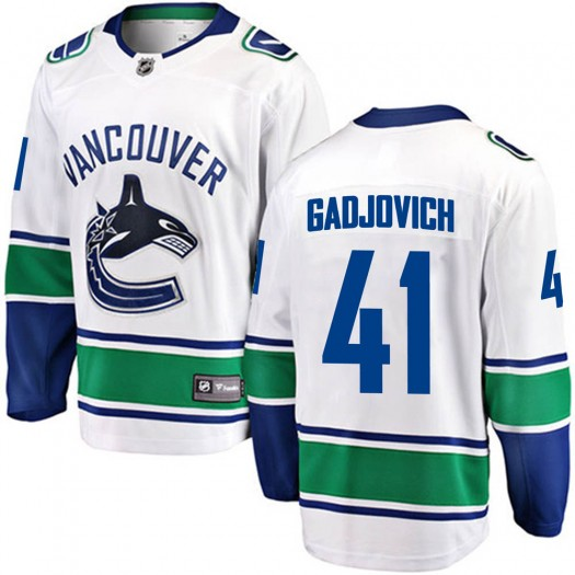 Jonah Gadjovich Vancouver Canucks Men's Fanatics Branded White Breakaway Away Jersey