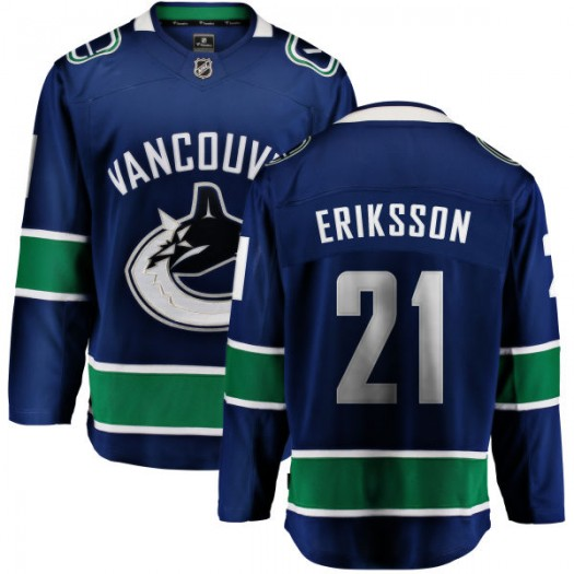Loui Eriksson Vancouver Canucks Youth Fanatics Branded Blue Home Breakaway Jersey
