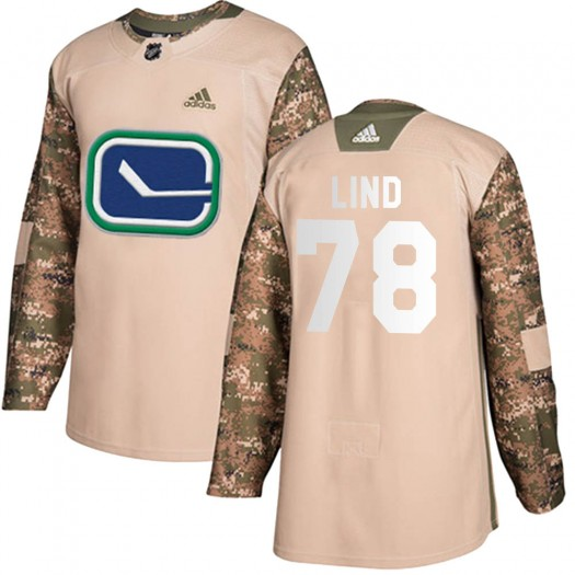 Kole Lind Vancouver Canucks Men's Adidas Authentic Camo Veterans Day Practice Jersey