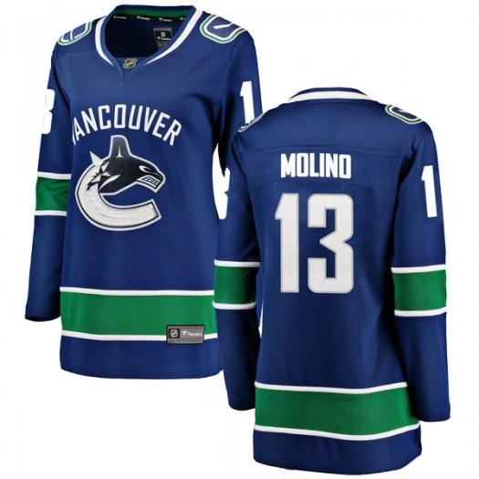 Griffen Molino Vancouver Canucks Women's Fanatics Branded Blue Breakaway Home Jersey