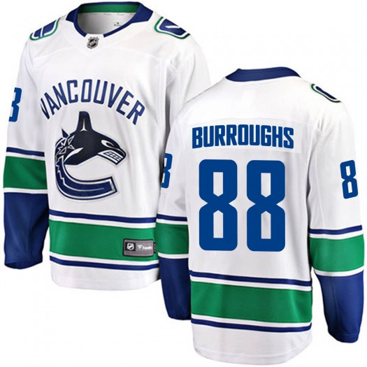 Kyle Burroughs Vancouver Canucks Youth Fanatics Branded White Breakaway Away Jersey