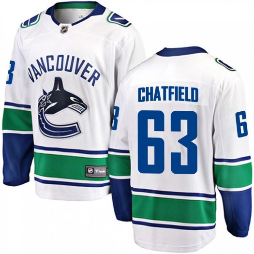 Jalen Chatfield Vancouver Canucks Youth Fanatics Branded White Breakaway Away Jersey