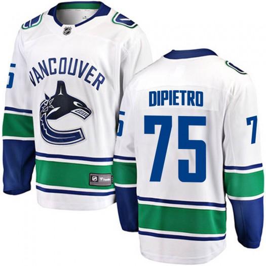 Michael DiPietro Vancouver Canucks Youth Fanatics Branded White Breakaway Away Jersey