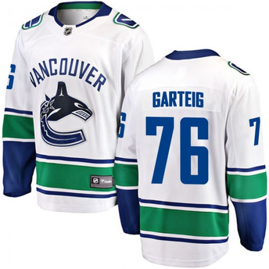 Michael Garteig Vancouver Canucks Youth Fanatics Branded White Breakaway Away Jersey