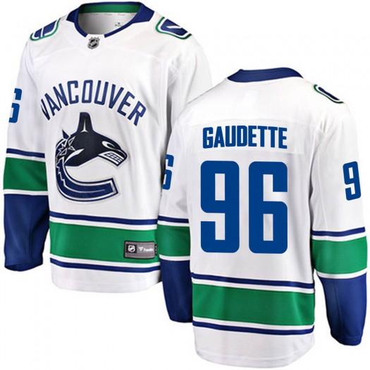 Adam Gaudette Vancouver Canucks Youth Fanatics Branded White Breakaway Away Jersey