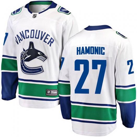 Travis Hamonic Vancouver Canucks Youth Fanatics Branded White Breakaway Away Jersey