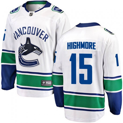 Matthew Highmore Vancouver Canucks Youth Fanatics Branded White Breakaway Away Jersey