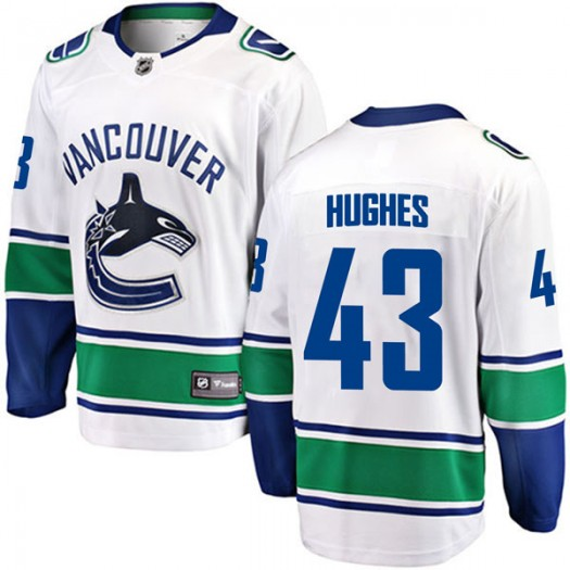 Quinn Hughes Vancouver Canucks Youth Fanatics Branded White Breakaway Away Jersey