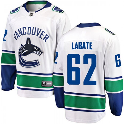 Joseph Labate Vancouver Canucks Youth Fanatics Branded White Breakaway Away Jersey