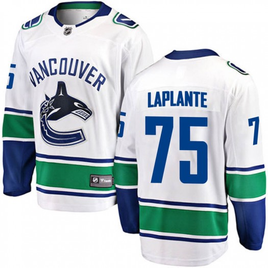 Yan Pavel Laplante Vancouver Canucks Youth Fanatics Branded White Yan Pavel LaPlante Breakaway Away Jersey
