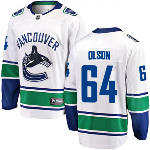 Tate Olson Vancouver Canucks Youth Fanatics Branded White Breakaway Away Jersey
