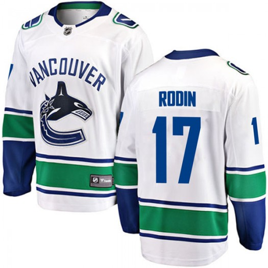 Anton Rodin Vancouver Canucks Youth Fanatics Branded White Breakaway Away Jersey