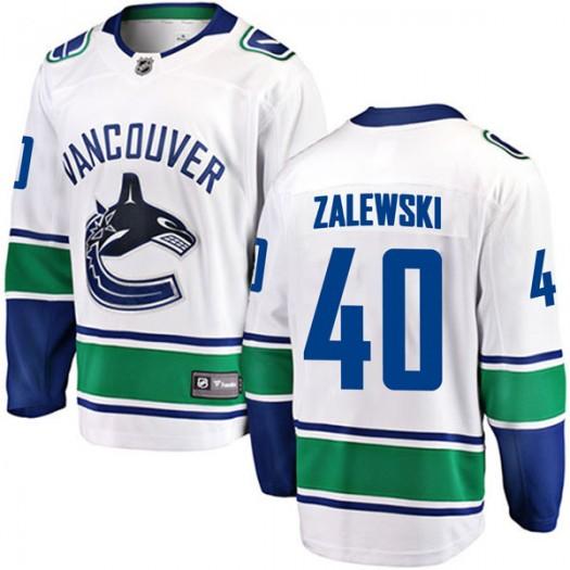Michael Zalewski Vancouver Canucks Youth Fanatics Branded White Breakaway Away Jersey