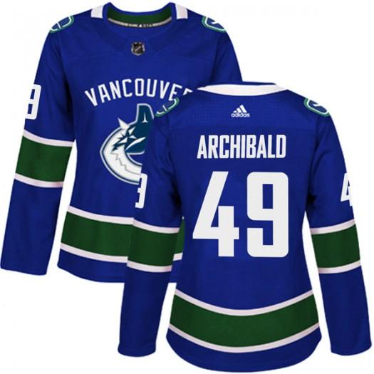 Darren Archibald Vancouver Canucks Women's Adidas Authentic Blue Home Jersey