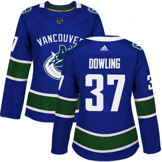 Justin Dowling Vancouver Canucks Women's Adidas Authentic Blue Home Jersey