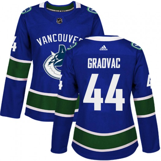 Tyler Graovac Vancouver Canucks Women's Adidas Authentic Blue Home Jersey
