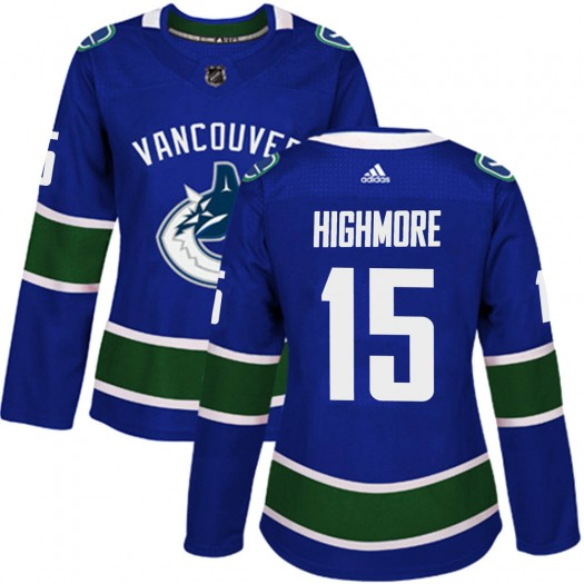 Matthew Highmore Vancouver Canucks Women's Adidas Authentic Blue Home Jersey