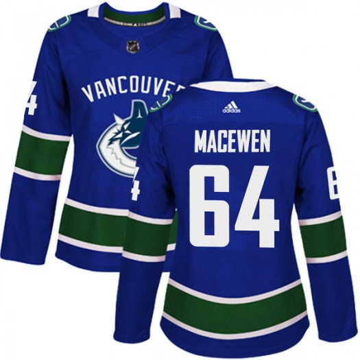 Zack MacEwen Vancouver Canucks Women's Adidas Authentic Blue Home Jersey