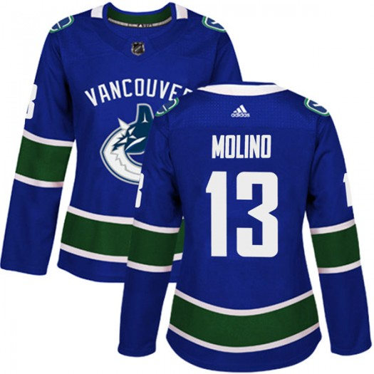 Griffen Molino Vancouver Canucks Women's Adidas Authentic Blue Home Jersey