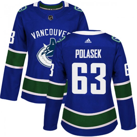 Adam Polasek Vancouver Canucks Women's Adidas Authentic Blue Home Jersey