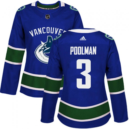 Tucker Poolman Vancouver Canucks Women's Adidas Authentic Blue Home Jersey