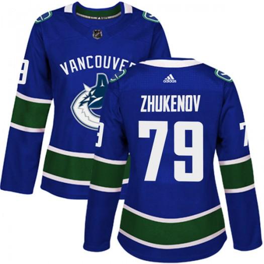 Dmitry Zhukenov Vancouver Canucks Women's Adidas Authentic Blue Home Jersey
