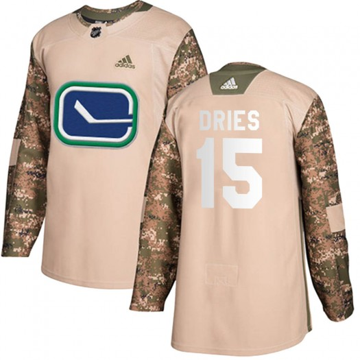 Sheldon Dries Vancouver Canucks Youth Adidas Authentic Camo Veterans Day Practice Jersey