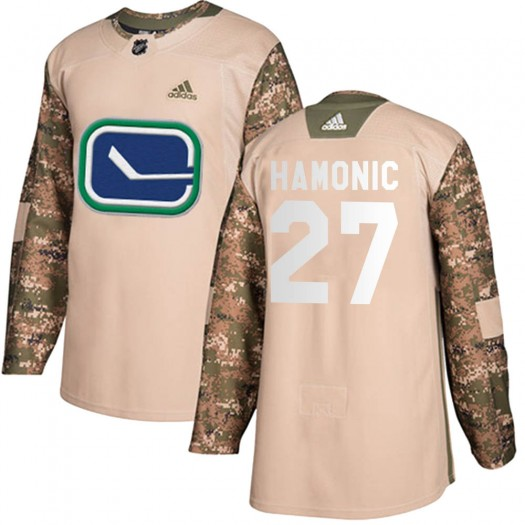 Travis Hamonic Vancouver Canucks Youth Adidas Authentic Camo Veterans Day Practice Jersey