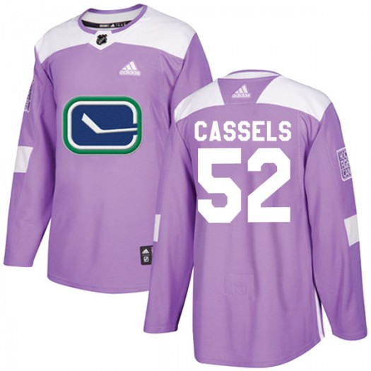 Cole Cassels Vancouver Canucks Youth Adidas Authentic Purple Fights Cancer Practice Jersey