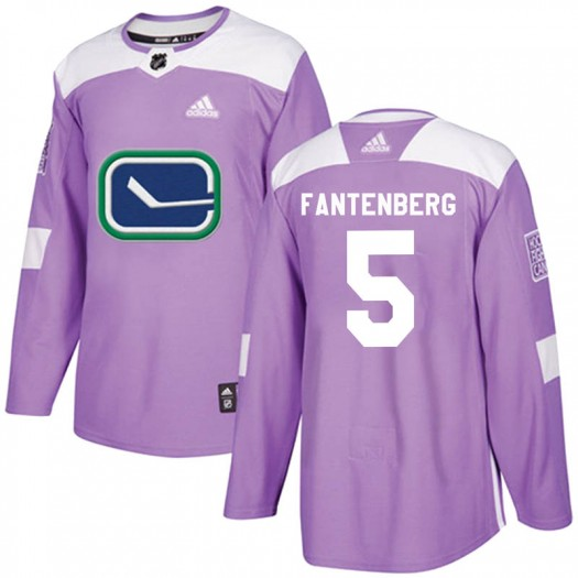 Oscar Fantenberg Vancouver Canucks Youth Adidas Authentic Purple Fights Cancer Practice Jersey