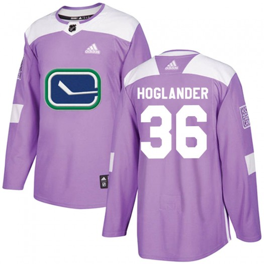 Nils Hoglander Vancouver Canucks Youth Adidas Authentic Purple Fights Cancer Practice Jersey