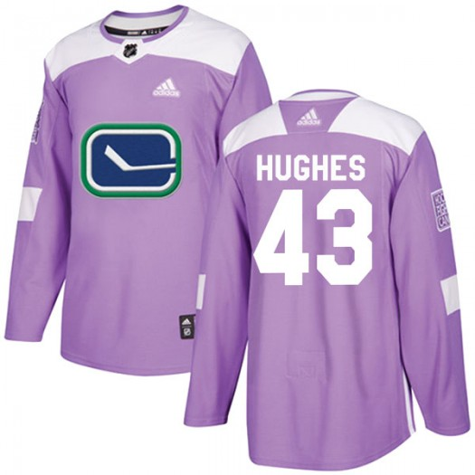 Quinn Hughes Vancouver Canucks Youth Adidas Authentic Purple Fights Cancer Practice Jersey