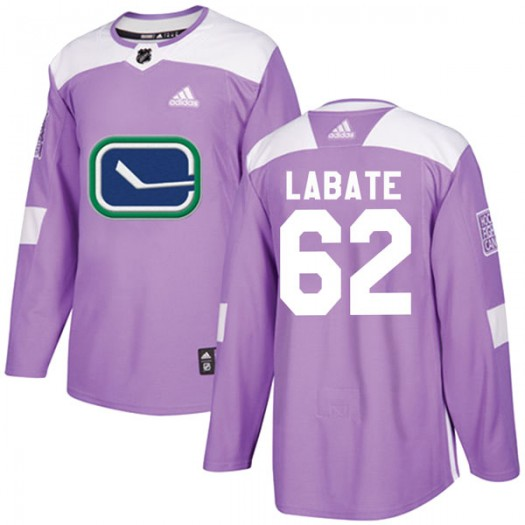 Joseph Labate Vancouver Canucks Youth Adidas Authentic Purple Fights Cancer Practice Jersey