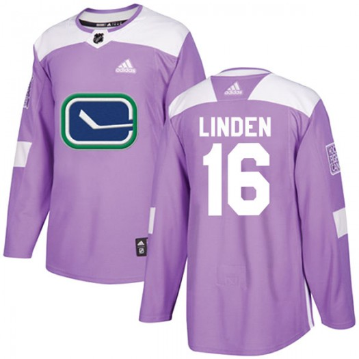 Trevor Linden Vancouver Canucks Youth Adidas Authentic Purple Fights Cancer Practice Jersey