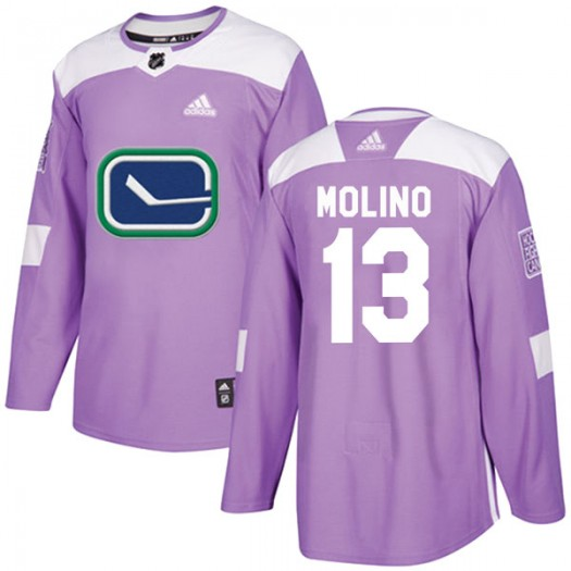Griffen Molino Vancouver Canucks Youth Adidas Authentic Purple Fights Cancer Practice Jersey