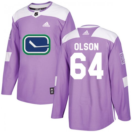Tate Olson Vancouver Canucks Youth Adidas Authentic Purple Fights Cancer Practice Jersey