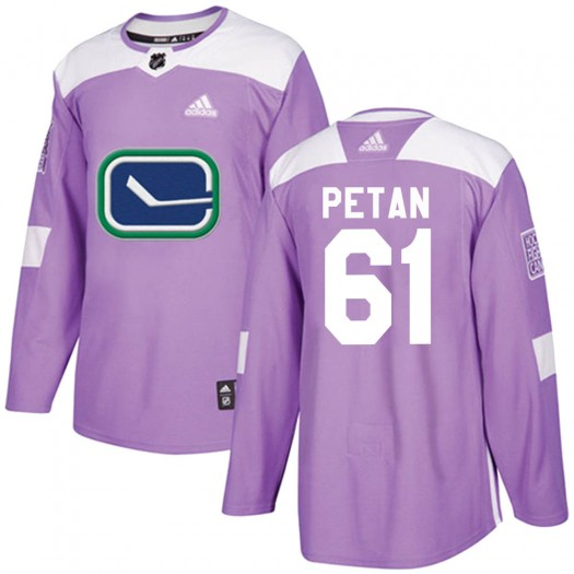 Nic Petan Vancouver Canucks Youth Adidas Authentic Purple Fights Cancer Practice Jersey