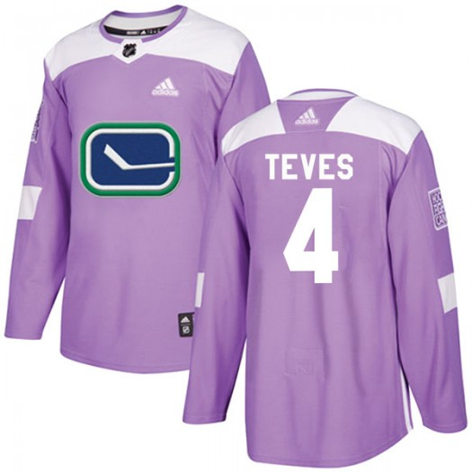 Josh Teves Vancouver Canucks Youth Adidas Authentic Purple Fights Cancer Practice Jersey