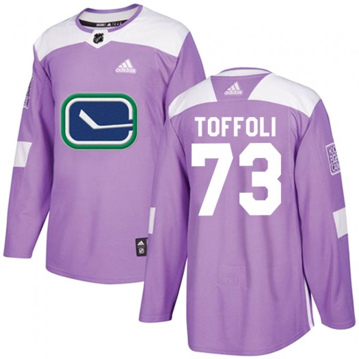 Tyler Toffoli Vancouver Canucks Youth Adidas Authentic Purple ized Fights Cancer Practice Jersey