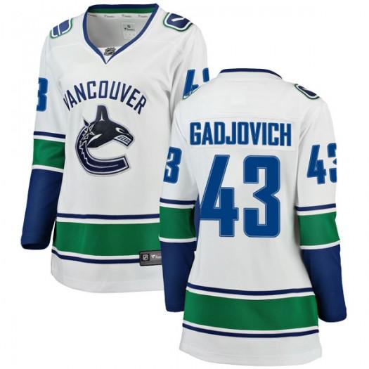 Jonah Gadjovich Vancouver Canucks Women's Fanatics Branded White Breakaway Away Jersey