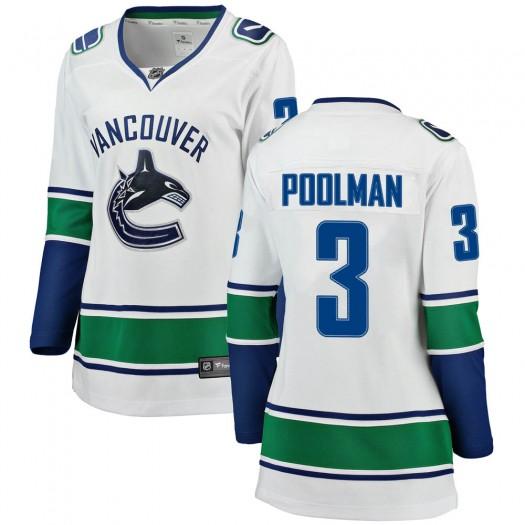 Tucker Poolman Vancouver Canucks Women's Fanatics Branded White Breakaway Away Jersey