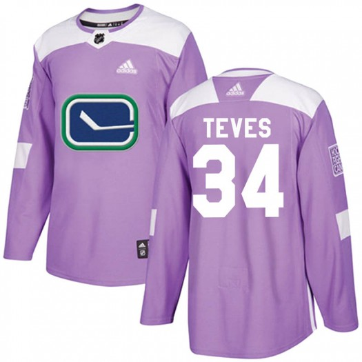 Josh Teves Vancouver Canucks Men's Adidas Authentic Purple Fights Cancer Practice Jersey