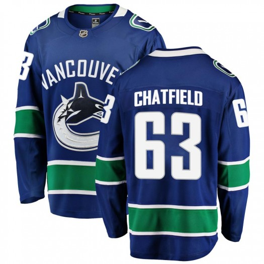 Jalen Chatfield Vancouver Canucks Men's Fanatics Branded Blue Breakaway Home Jersey