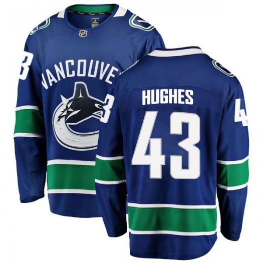 Quinn Hughes Vancouver Canucks Men's Fanatics Branded Blue Breakaway Home Jersey