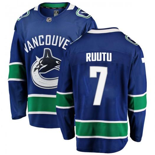 Tuomo Ruutu Vancouver Canucks Men's Fanatics Branded Blue Breakaway Home Jersey