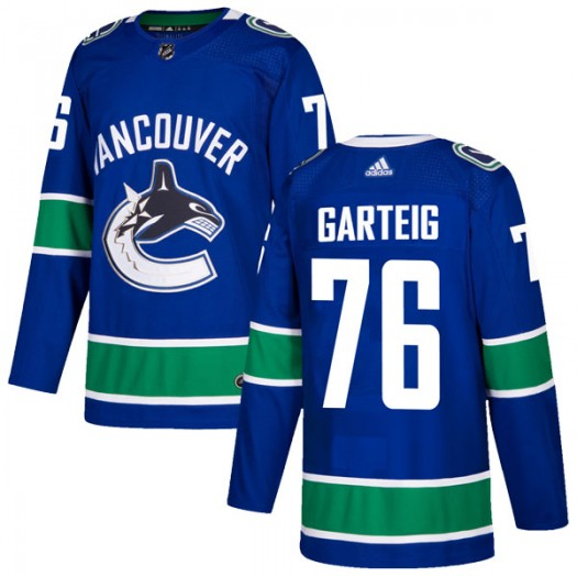 Michael Garteig Vancouver Canucks Youth Adidas Authentic Blue Home Jersey